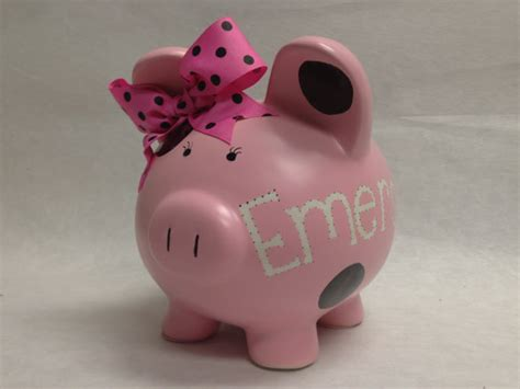 custom piggy banks personalized piggy bank your color polka dot