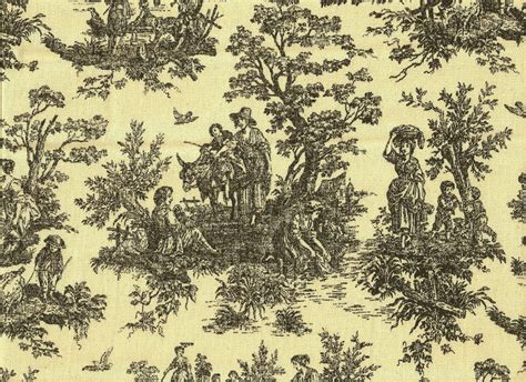 Elegant French Country Cotton Toile Black Cream Upholstery