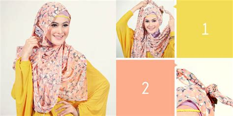 tutorial berhijab pashmina shifon fashion cantik sederhana dengan pashmina chiffon bunga