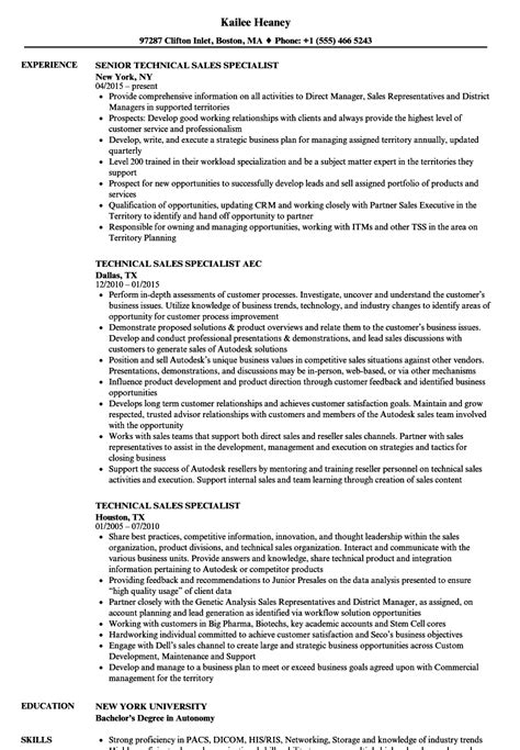 technical sales specialist resume sles velvet