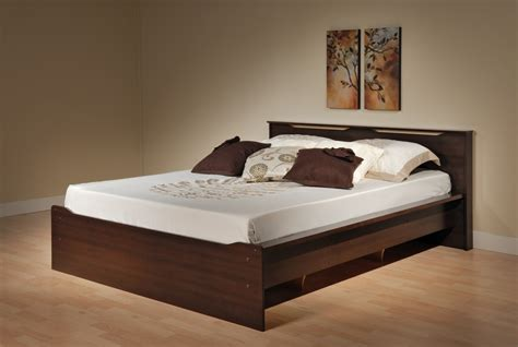 Brown Wooden Bed Frame With Minimalist Brown Wooden Platform Bed Frame With Storage Decofurnish