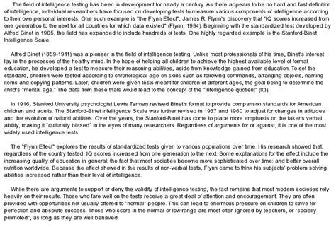 Intelligence Essay by Intelligence Testing At Essaypedia