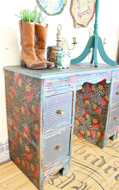 How To Decoupage A Dresser - how to decoupage a desk refunk my junk