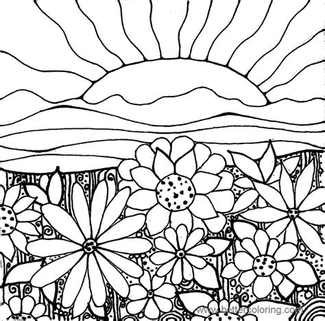 sunset coloring pages summertime coloring pages sunset and flowers free