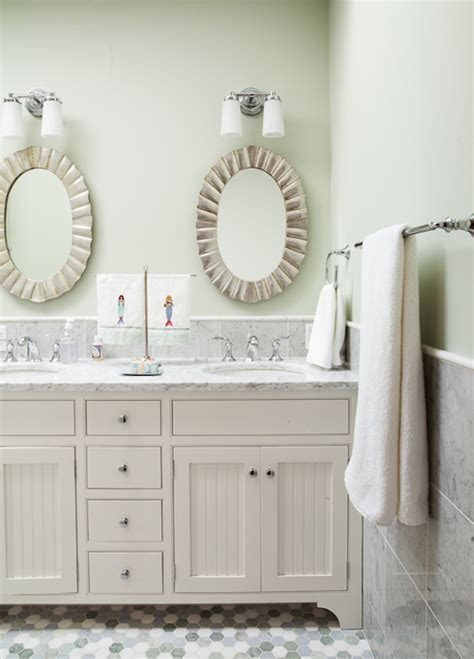 Scalloped Oval Mirrors   Cottage   bathroom   Liz Levin