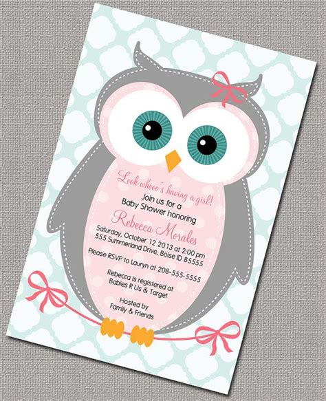 owl themed baby shower invitation template owl baby shower invitation baby pink gray seafoam