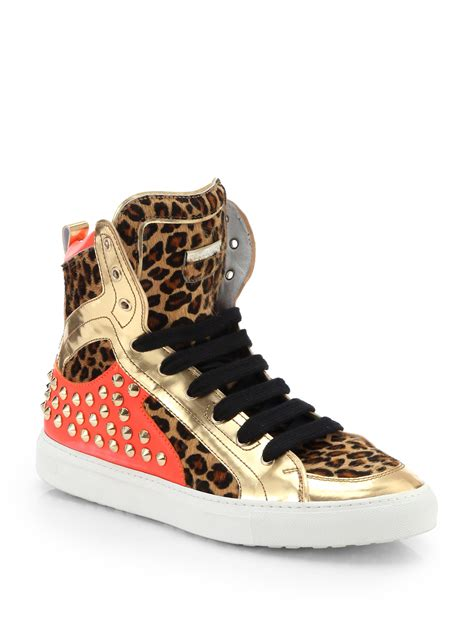 gold high top sneakers for dsquared 178 leopard print pony hair studded high top
