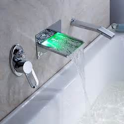 Bath Shower Tap Led Waterfall Tub Faucet With Pull Out Hand Shower Wall