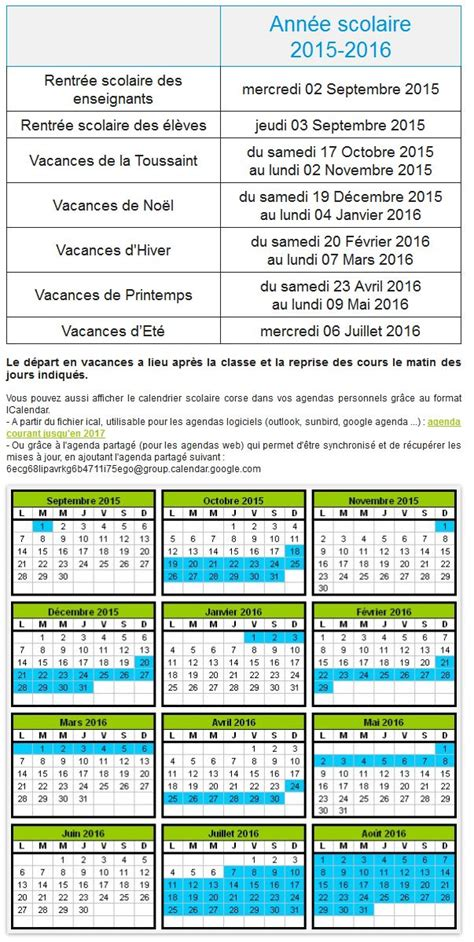 Calendrier Scolaire 2016 Guadeloupe Vacances Scolaires 2015 2016 Dom Tom Corse