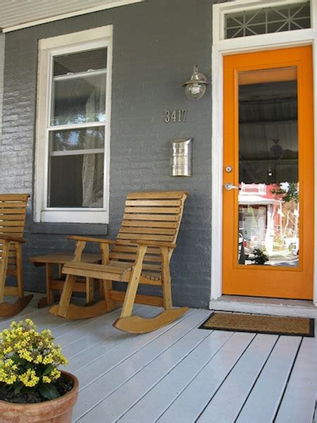 Door Accent Colors For Greenish Gray | color schemes orange and grey eclectic living home