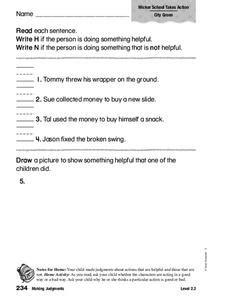 Making Judgments 1st 2nd Grade Worksheet Lesson Planet Judgements Worksheets For Grade 1