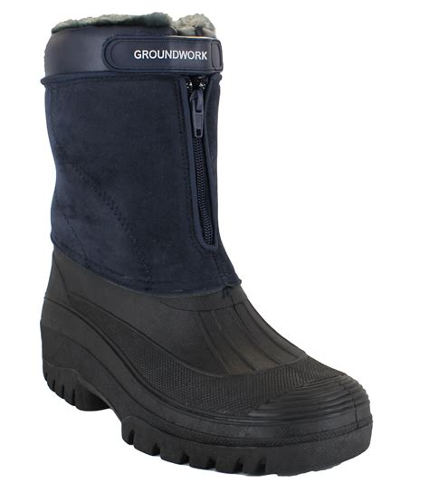 groundwork womens navy mucker stable yard winter snow zip
