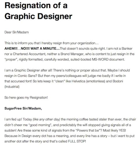 Resignation Letter Email Joke A Graphic Designer S Resignation Letter Designtaxi