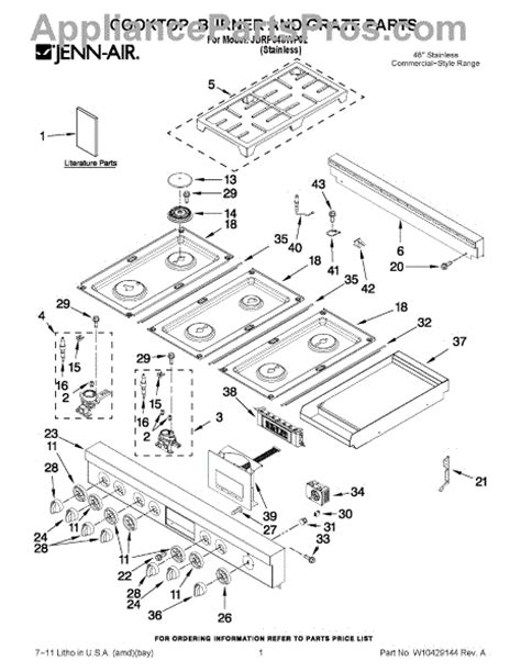 jenn air oven parts diagram parts for jenn air jdrp548wp02 cooktop burner and grate