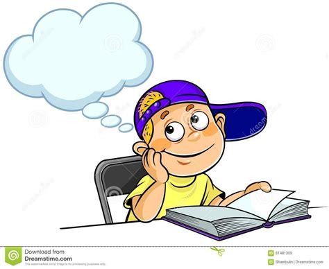 thoughts of you books kid thinking with a book stock illustration image of