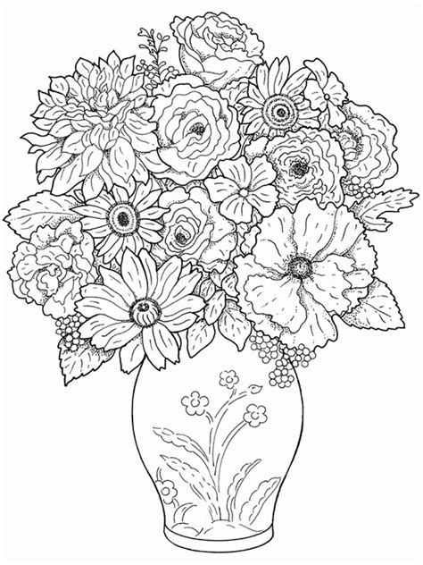 coloring pages of vase with flowers free coloring pages of flower vase
