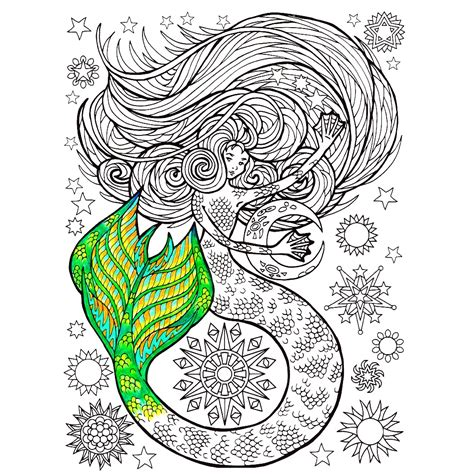 adult mermaid with long hair by lian2011 coloring pages adult coloring pages mermaid coloring pages
