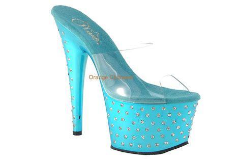 turquoise high heels shoes pleaser turquoise aqua chrome rhinestone platform