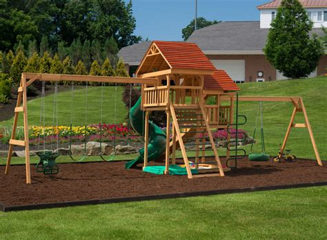 wood swing set play mor 525 jump for joy wooden swing sets