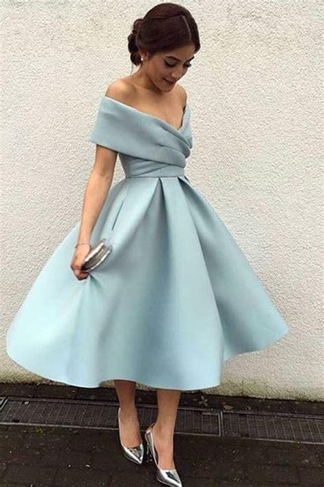 The Shoulder Chiffon Dress light blue chiffon shoulder a line knee length dress