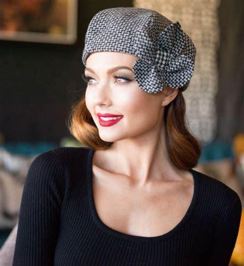 Herringbone Beret beret hat flower beret herringbone wool plaid beret hat