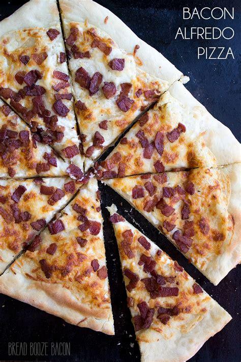 table bacon pizza bacon alfredo pizza bread booze bacon