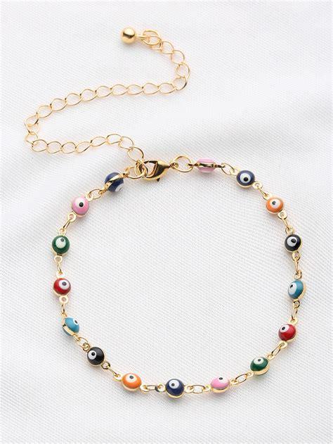 beaded chain bracelet colorful beaded design chain bracelet shein sheinside