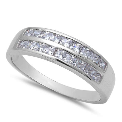 s 1ct princess cut cz wedding band 925 sterling