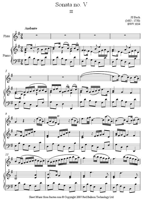 sheet for flute johann sebastian bach sonate in bach sonata for flute bwv 1034 3rd mvt sheet for