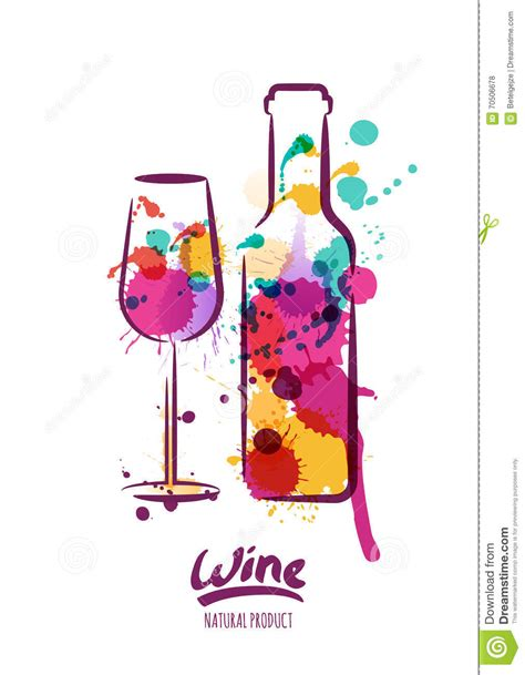 colorful wine glasses vector watercolor illustration of colorful wine bottle and