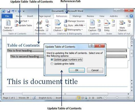 tutorialspoint ms word create table of contents in word 2010