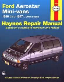 car owners manuals free downloads 1986 ford aerostar on board diagnostic system ford aerostar minivan repair shop manual 1986 1997 haynes