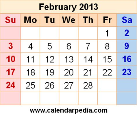 February 2013 Calendar February 2013 Calendars For Word Excel Pdf