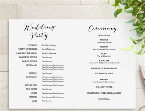 25 Wedding Program Templates Free Psd Ai Eps Format Download Free Premium Templates Simple Wedding Program Template