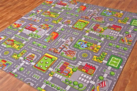 road rug city s roads play mat with cars boys colourful children s bedroom rugs ebay