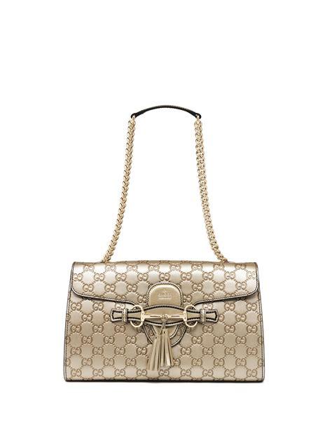 Gucci Single Bag Bn178 11 gucci emily medium metallic ssima leather chain shoulder