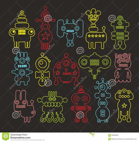 doodle monsters vector doodle illustration set vector