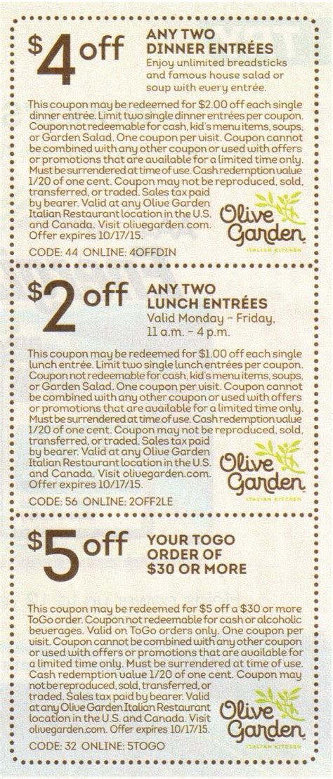 olive garden coupon code march 2015 olive garden coupons canada 2015 coupon for olive garden