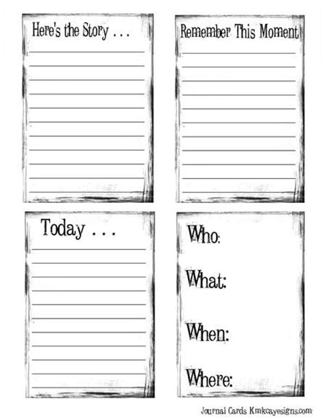 journaling card template 4 different sheets of free lined journal cards arrows
