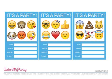 Free Emoji Party Printables Catch My Party Emoji Birthday Invitation Template