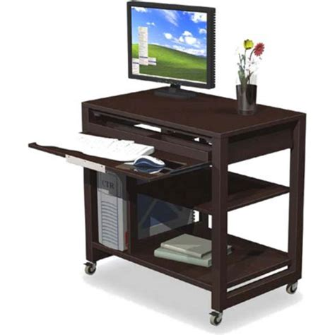 Locking Computer Desk Home Office Computer Desk With Pull Out Keyboard Tray Cpu Holder Shelves And Locking Casters
