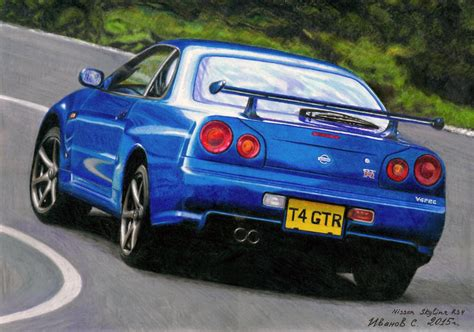 nissan skyline drawing by nissan skyline r34 gt r drawing by ivanovsemyonrussia on