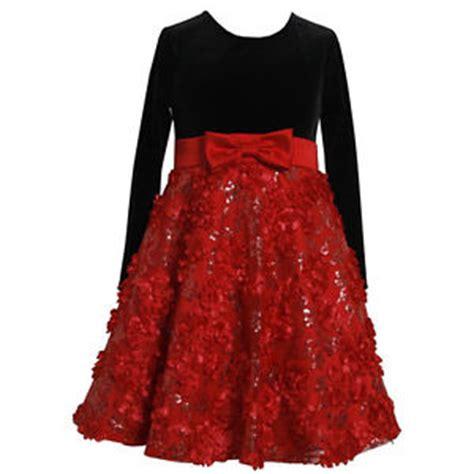 bonnie jean girls red black velvet floral bonaz overlay