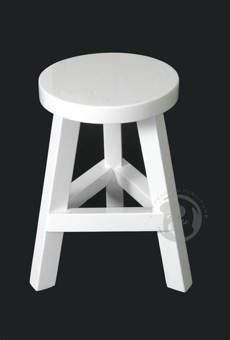 black and white small wooden stool series