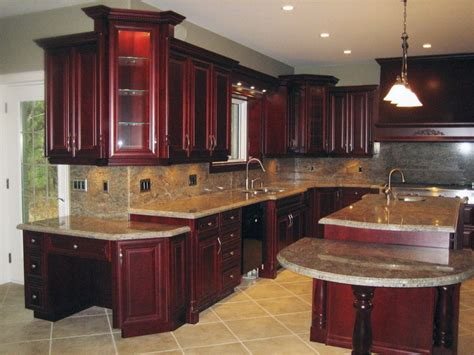 cherry wood kitchen cabinets black granite