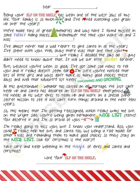 elf   shelf goodbye letter template printable