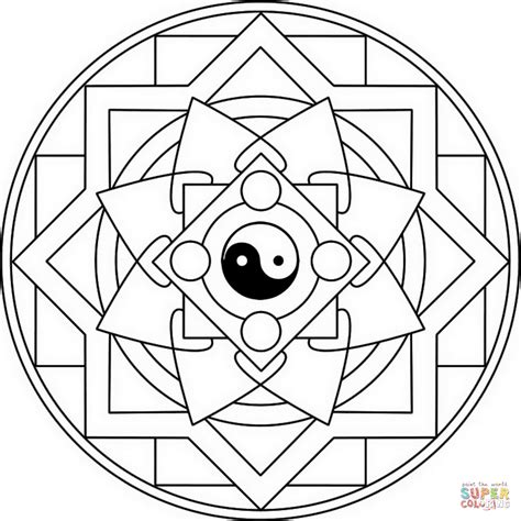 which color is yin mandala with yin yang coloring page free printable