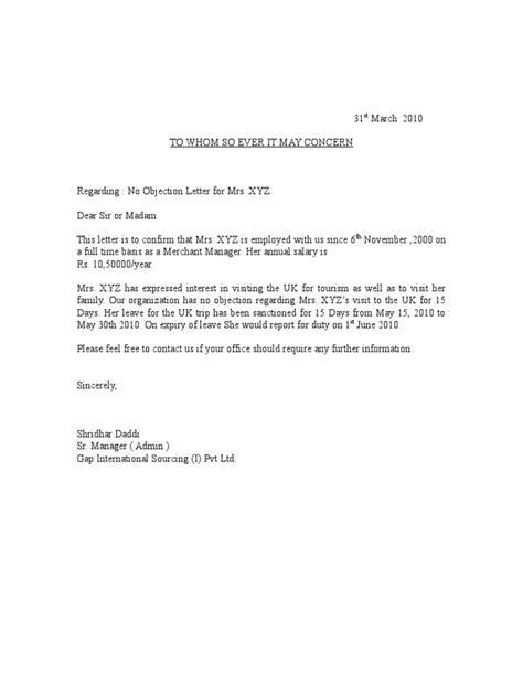 sample objection letter certificate noc