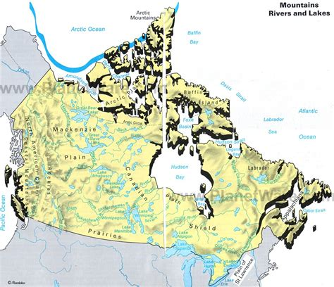 map of canada and lakes map of canada mountains rivers and lakes planetware