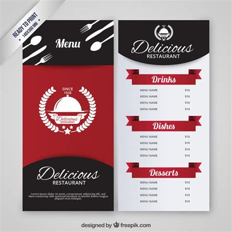 templates for restaurant restaurant menu template vector free download